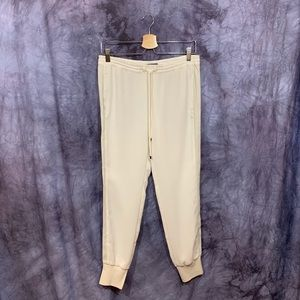 Vince White Leather Trimmed Joggers XS